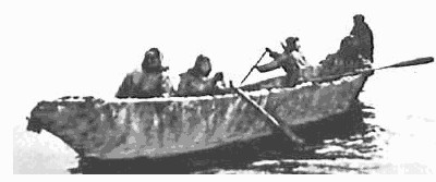 Detail From 18th Century Illustration Of Greenland Inuit Whaling Showing The Sides Made Two Long Poles Probably With Skins Attached